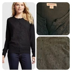 Merona black lace cardigan